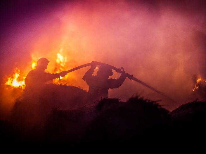 Pożar słomy w Boryczy