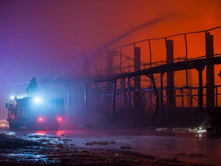 Pożar hali w Zelowie